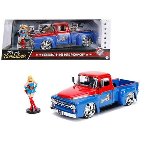 Jada 30454 1956 Ford F-100 Pickup Truck Red & Blue with Supergirl Diecast Figure DC Comics Bombshells Series 1-24 Diecast Model Car - image 1 de 1