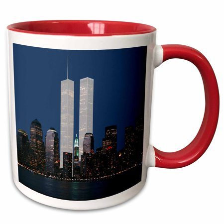 New York City Twin Tower - 3dRose New York City evening skyline featuring the Twin Towers - Two Tone Red Mug, 11-ounce