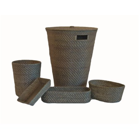(5-Piece Hapao Rattan Hamper Set, Gray)