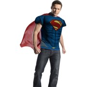 Adult Mens Deluxe Man of Steel Superman Muscle T-Shirt With Cape X-Large 44-46