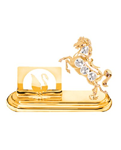 Mascot 24k Gold Plated Horse Business Card Holder with Cl...