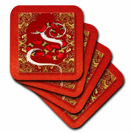 3dRose Chinese Zodiac Year of the Snake Chinese New Year Red, Gold and Black - Soft Coasters, set of