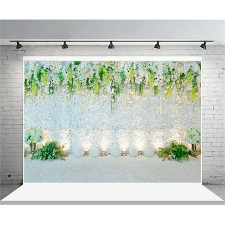 GreenDecor Polyster 7x5ft Wedding Backdrop Romantic Flowers Drape Decoration Photography Background Bride Lovers Couple Artistic Portrait Nuptial Photo Shoot Studio Props Video Drop Drape (Couple Photo)