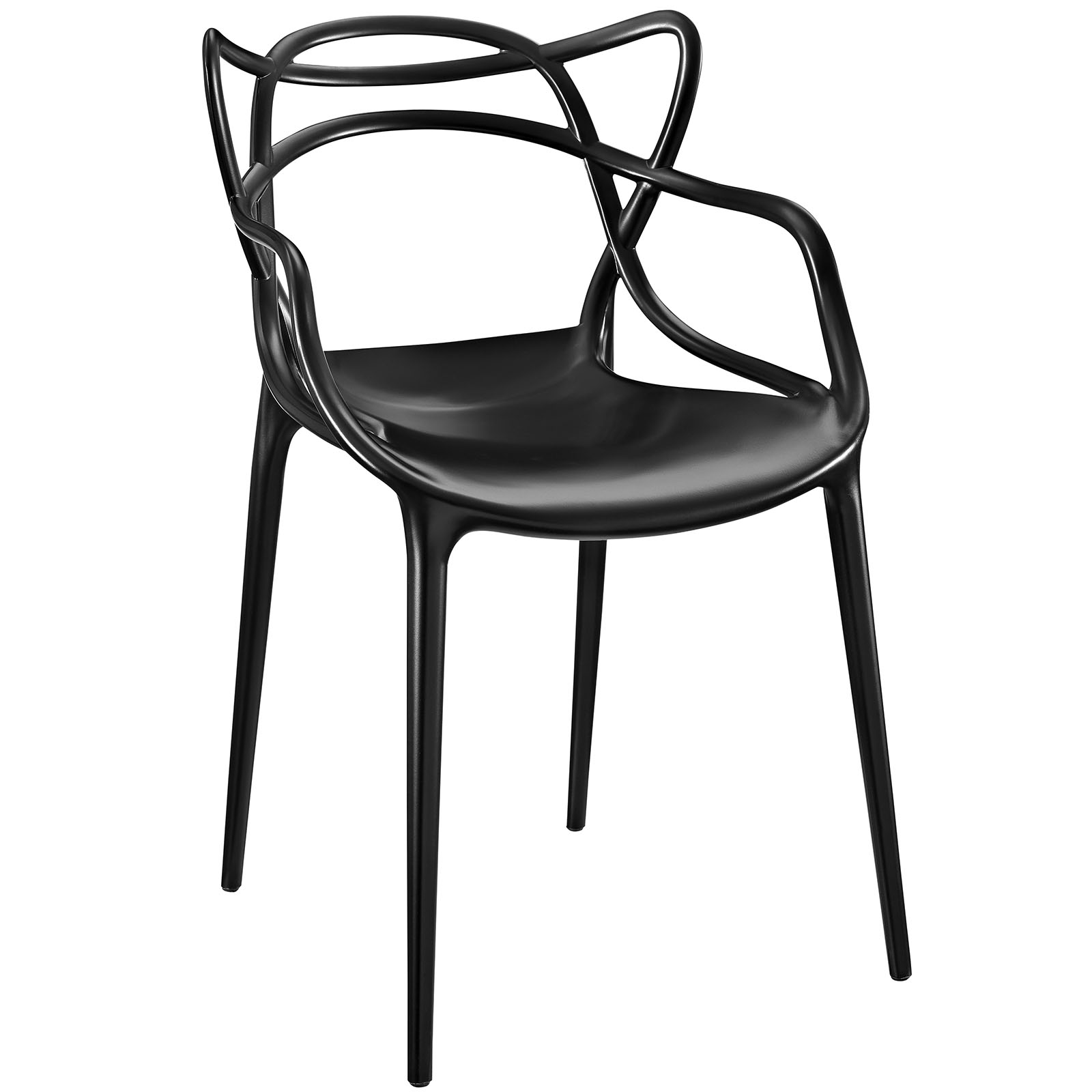 Modern Contemporary Dining Armchair (Indoor and Outdoor), Black, Plastic by