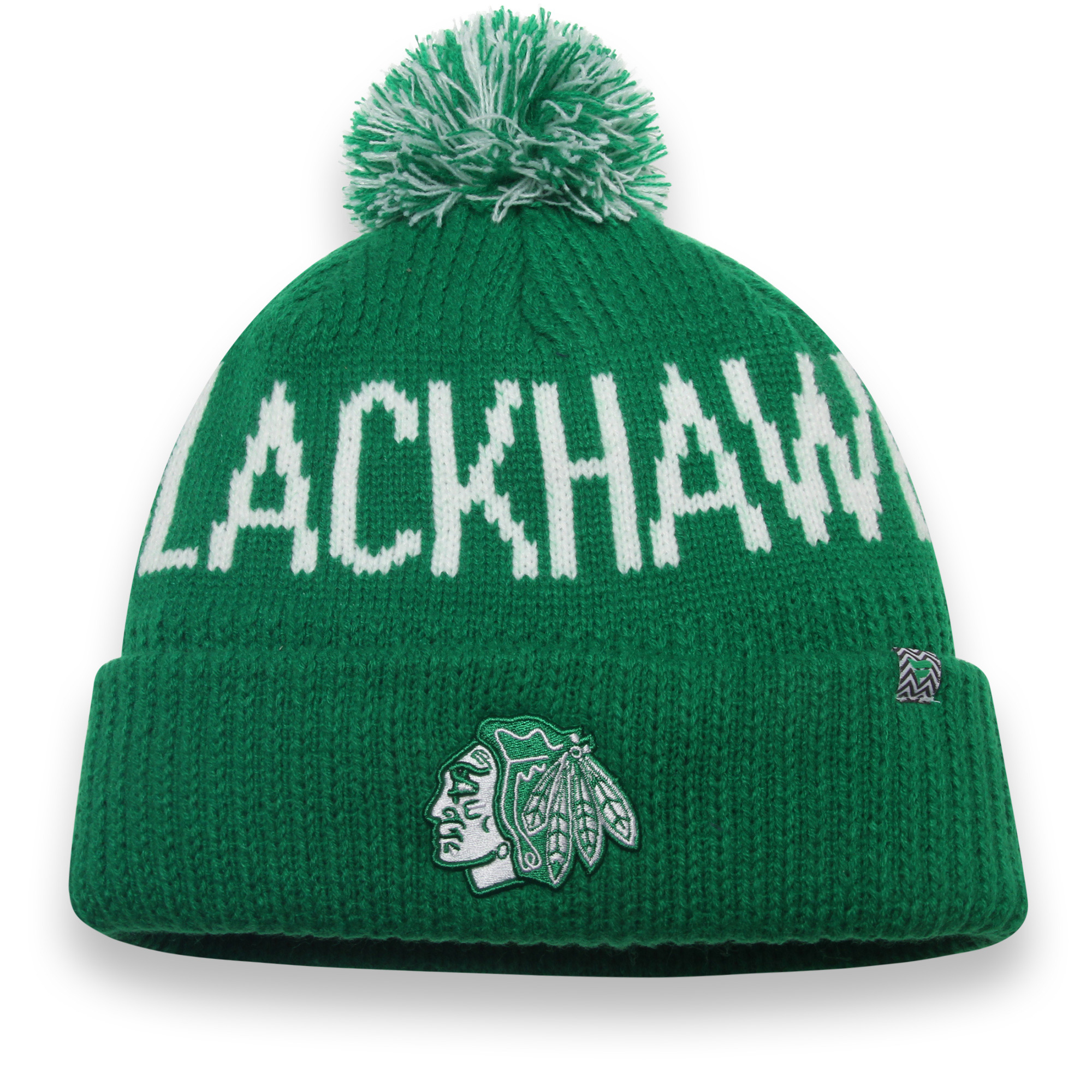 Chicago Blackhawks Fanatics Branded St. Patrick's Day Cuffed Knit Hat with Pom - Green - OSFA