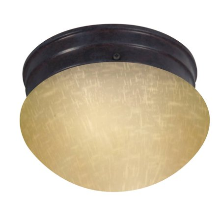 "Nuvo Lighting 62642 - 1 Light (Twist  and  Lock Base) 6"" Flush Mount Mahogany Bronze Finish with Champagne Linen Glass Ceiling Light Fixture (60-2642)"