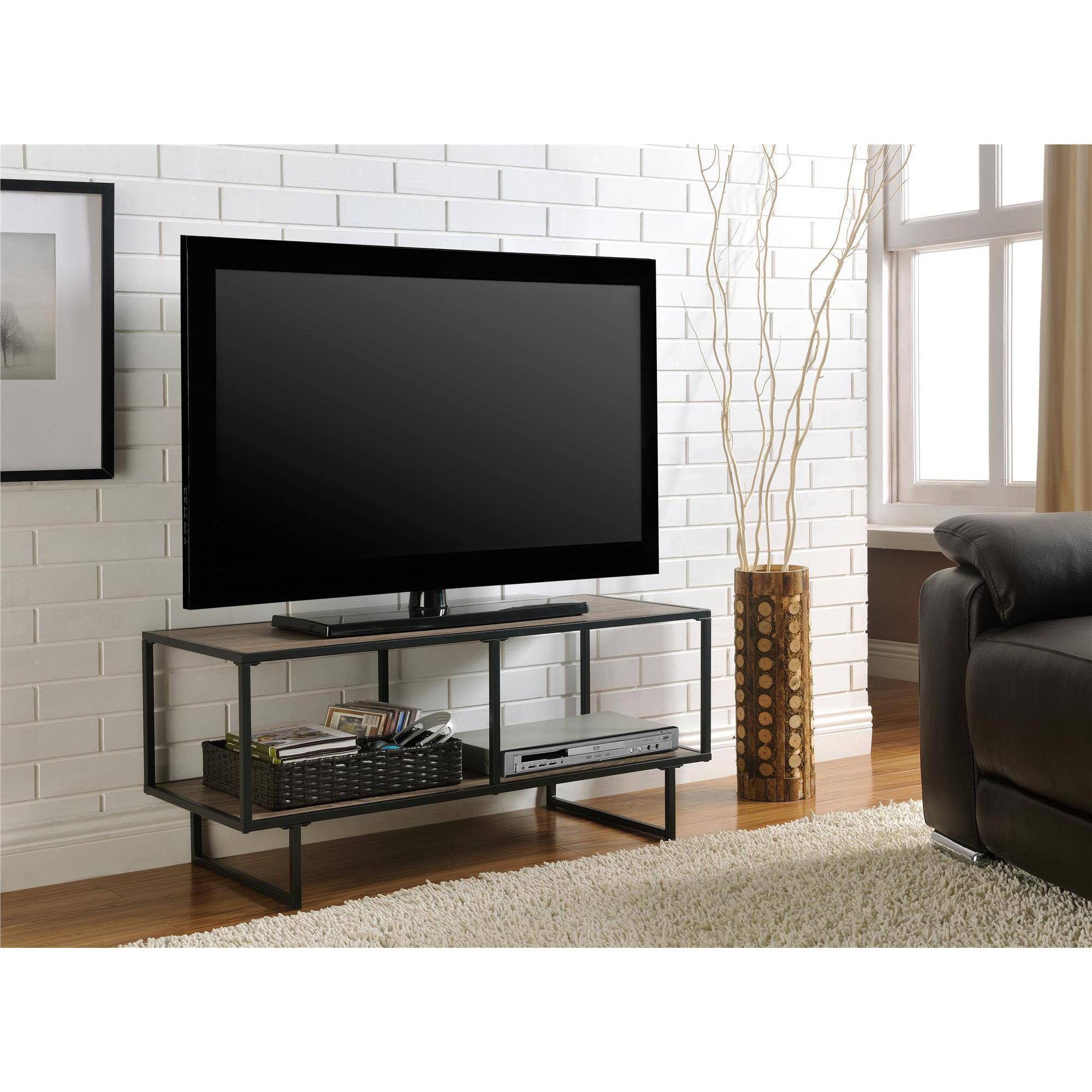 "Emmett Sonoma TV Stand/Coffee Table with Metal Frame for TVs up to 42"", Oak/Gunmetal Gray"