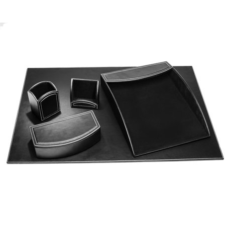 Dacasso Leather Office (Dacasso Colors Faux Leather 5pc Office Organizing Desk Set - Midnight)