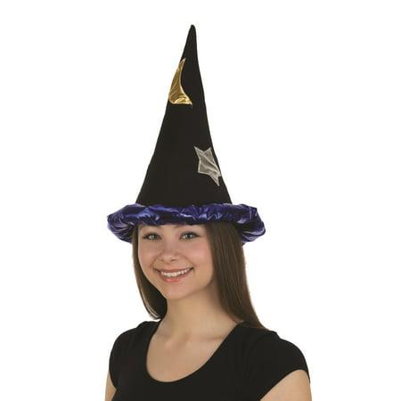 Velvet Wizard Hat Merlin Warlock Sorcerer Medieval Wizardry Costume Accessory