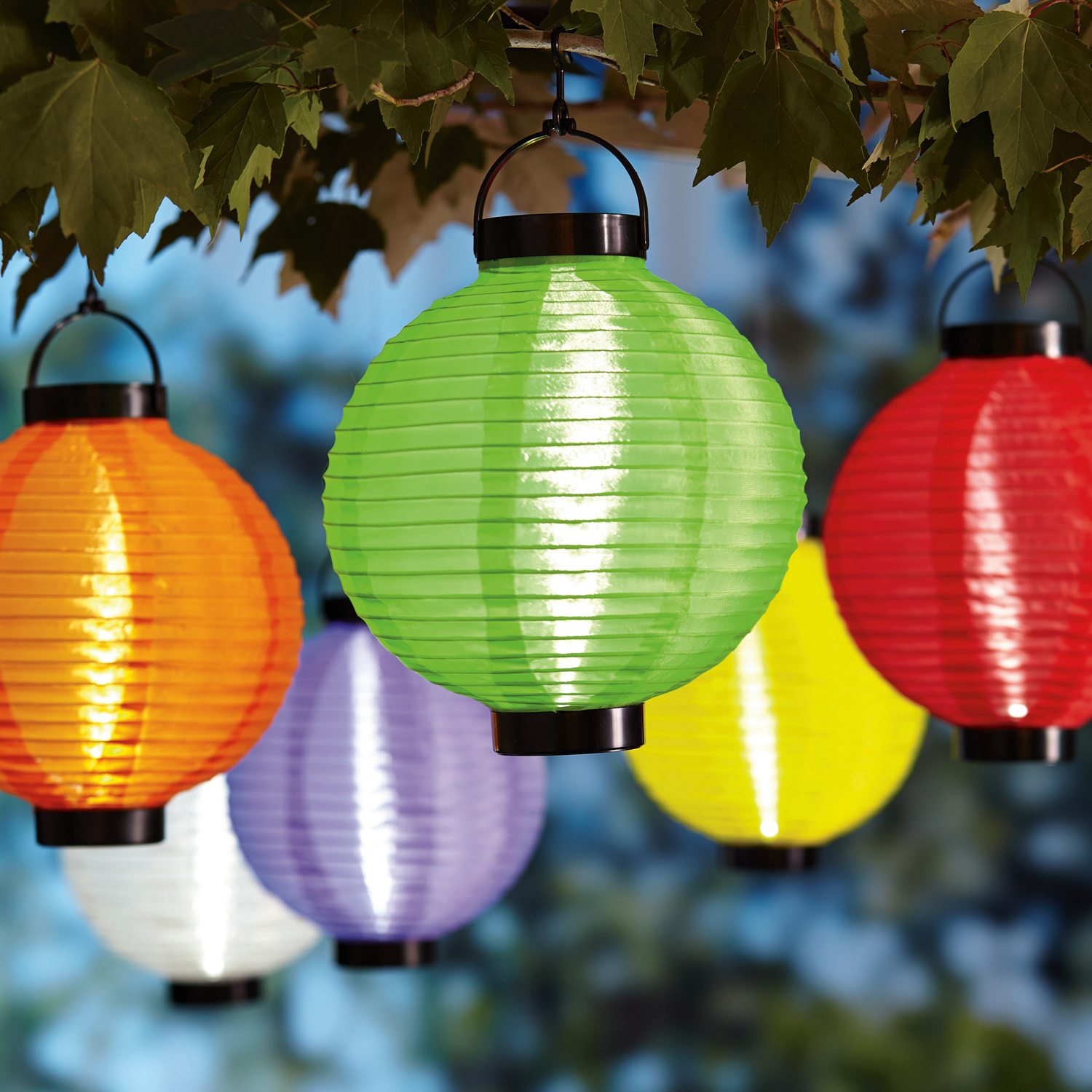 "6ct Battery-Operated 8"" Multi-Color Fabric Lantern Set"