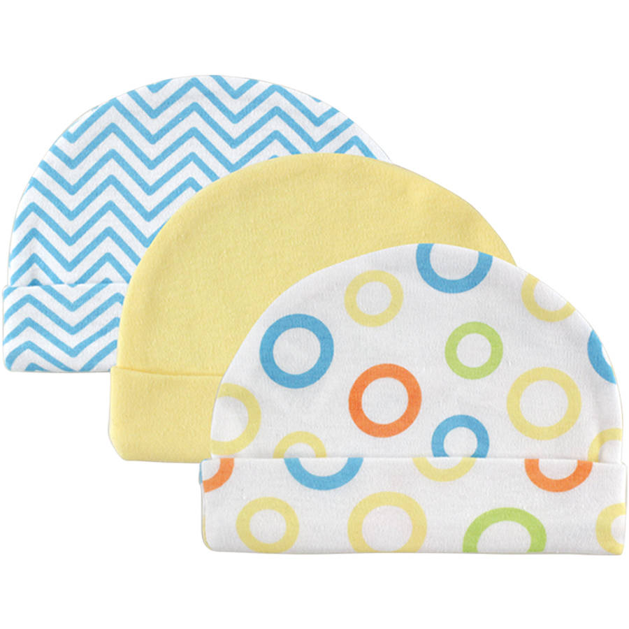 Luvable Friends Newborn Baby Neutral Cap 3-Pack, 0-6 months