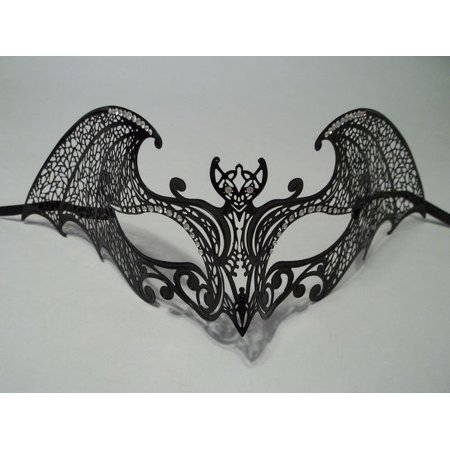 Black Gothic Bat Laser Cut Venetian Mask Masquerade Metal Filigree Halloween - Bat Mask Halloween