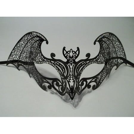 Gotica Halloween (Black Gothic Bat Laser Cut Venetian Mask Masquerade Metal Filigree)