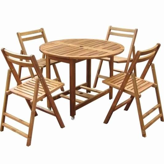 Folding Dining Set w Table & 4 Chairs - Acacia Wood