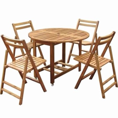folding dining set w table 4 chairs acacia wood