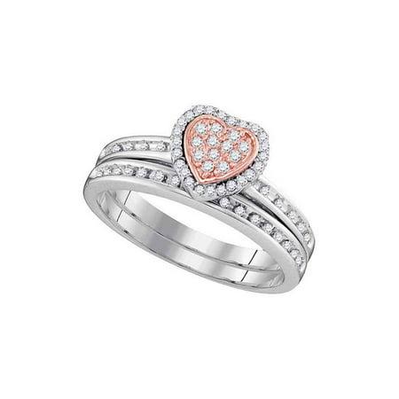10kt White Gold Womens Round Diamond Ring Rose-tone Heart Bridal Wedding Engagement Ring Band Set 1/4 Cttw