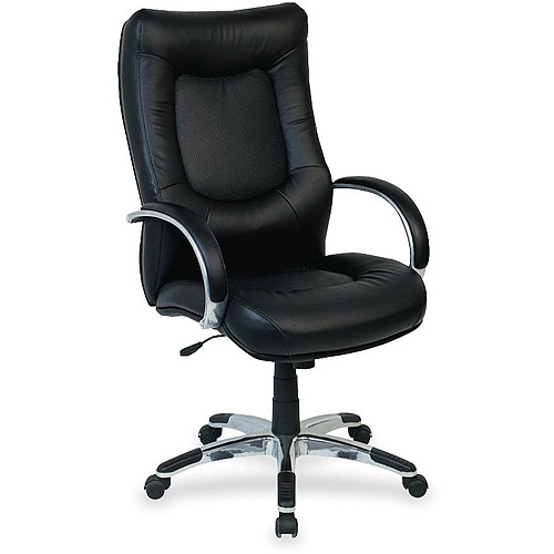 Lorell Stonebridge Leather Executive High-Back Chair, Black
