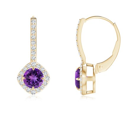 February Birthstone Earrings Claw Set Amethyst And Diamond Leverback Halo In 14k Yellow