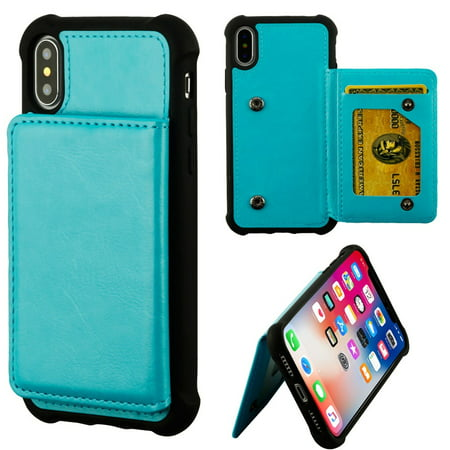 MyBat Executive Protector Stand Leather [Card Slot] Wallet Flap Pouch Case Cover For Apple iPhone X XS, Blue/Black