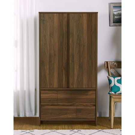 Ameriwood Home Atlas Armoire, Walnut 2 Door Walnut Armoire