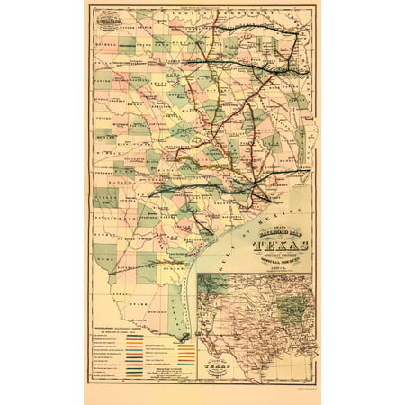 Railroad Map Of Texas.Old Railroad Map Gray S Railroad Map Texas 1877 23 X 39 16