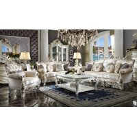 Acme Picardy II Loveseat with 4 Pillows in Fabric and Antique Pearl