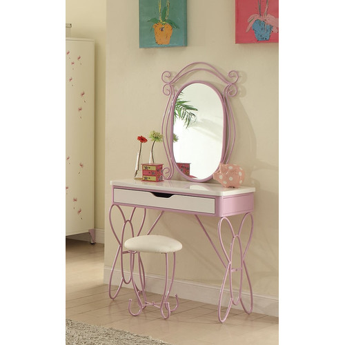 Acme Priya II Vanity Desk and Mirror, White and Light Purple by Acme Furniture