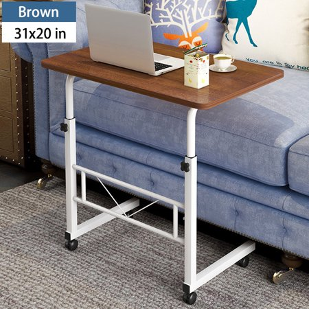 Rolling Laptop Desk Beside Sofa Stand Table (27.6-35.4)inch Height Adjustable Computer Desk Portable for Working Studying