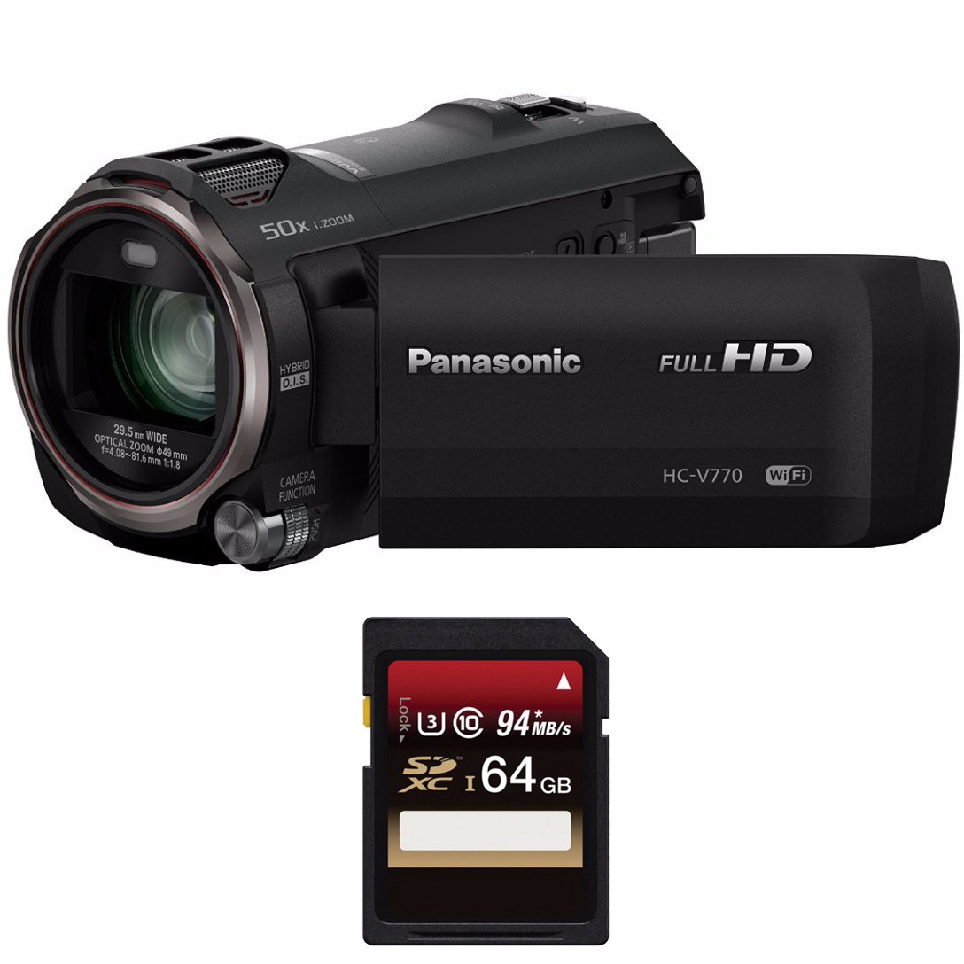 Panasonic HC-V770 HD Camcorder w/ 64 GB SD Card & 59-Inch...