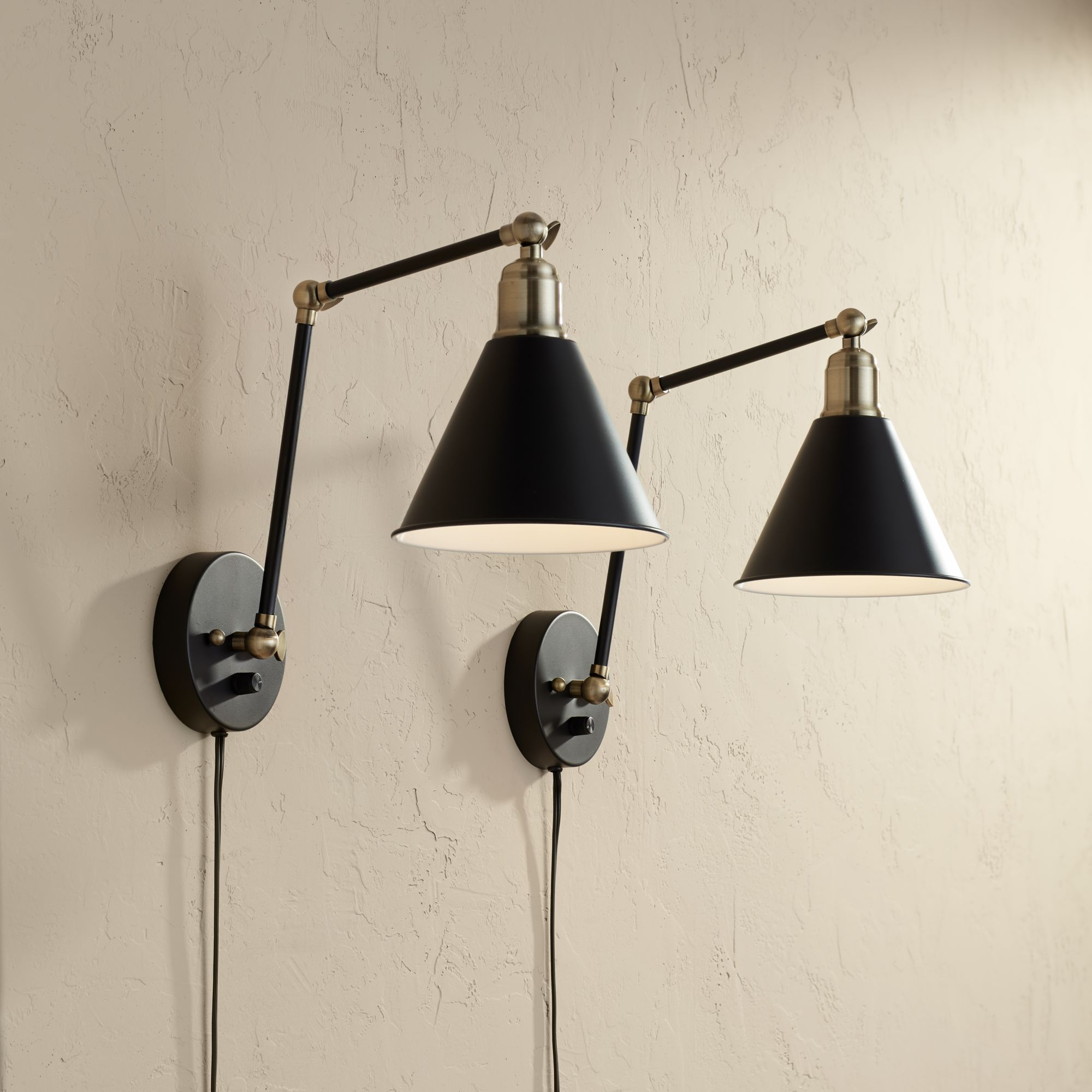 10 Lighting Modern Wall Lamp Plug-In Set of 10 Black and Antique Brass for  Bedroom Reading Living Room - Walmart.com
