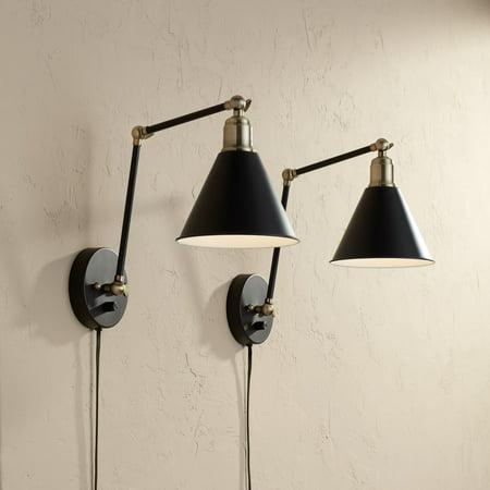 360 Lighting Modern Wall Lamp Plug-In Set of 2 Black and ...