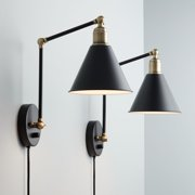 360 Lighting Modern Wall Lamp Plug-In Set of 2 Black and Antique Brass for Bedroom Reading Living Room