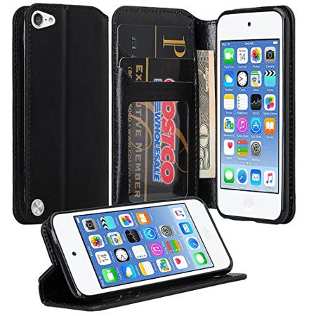 Apple iPod Touch 6th, 5th Generation Case - Wydan Wallet Case Folio Flip Leather Kickstand Feature Credit Card Slot Style Cover