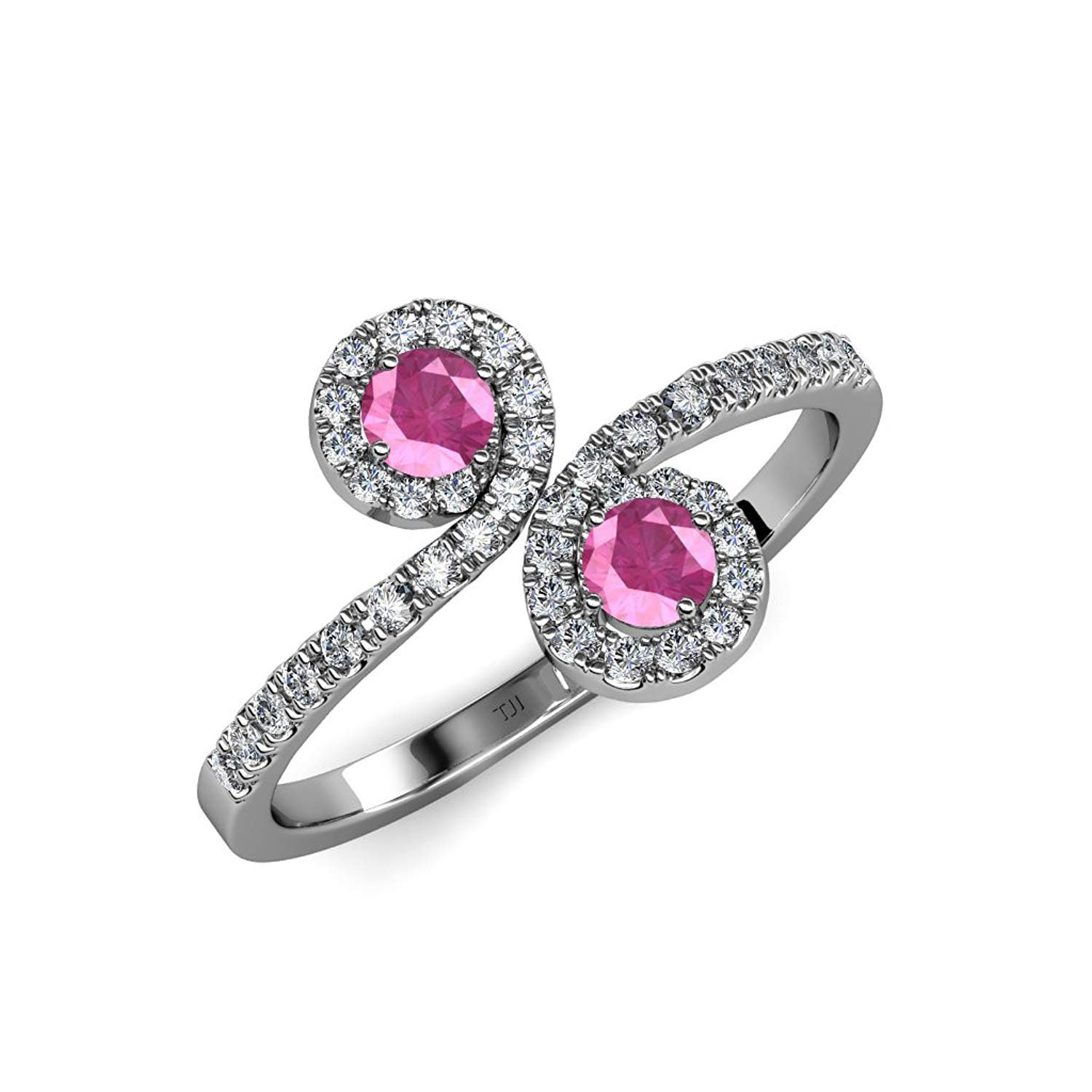 Pink Sapphire 2 Stone with Side Diamonds Bypass Engagement Ring 1.24 ct tw 14K White Gold.size 8.5 by TriJewels