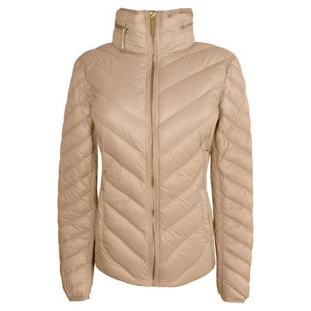 Michael Michael Kors Women's Champagne Down Packable Coat Hidden Hood (S)