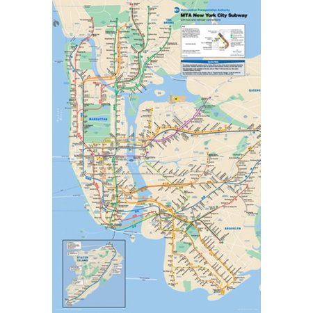 Nyc Subway Map Paper.New York City Subway Map Poster Print 24 X 36