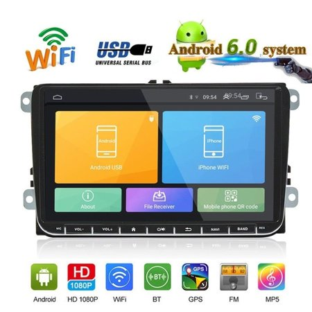 "Android 6.0 Car Radio Stereo 9"" Capacitive Touch Screen High Definition GPS Navigation Bluetooth USB Player 1G DDR3 16G NAND Memory Flash for VW Passat Golf MK5 MK6 Jetta T5 EOS POLO Touran Seat"