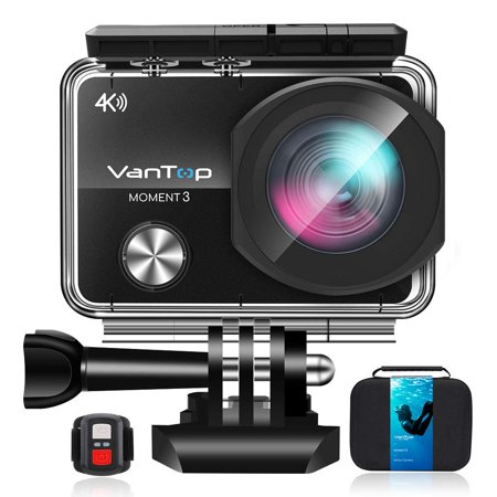 VanTop Moment 3 4K WiFi Action Camera w/ 32GB TF Card, 16MP Sony Sensor, Gopro Compatible Case,Remote Control, Ultra Wide View Angle, 2 Batteries and 21 GoPro Compatible Accessories