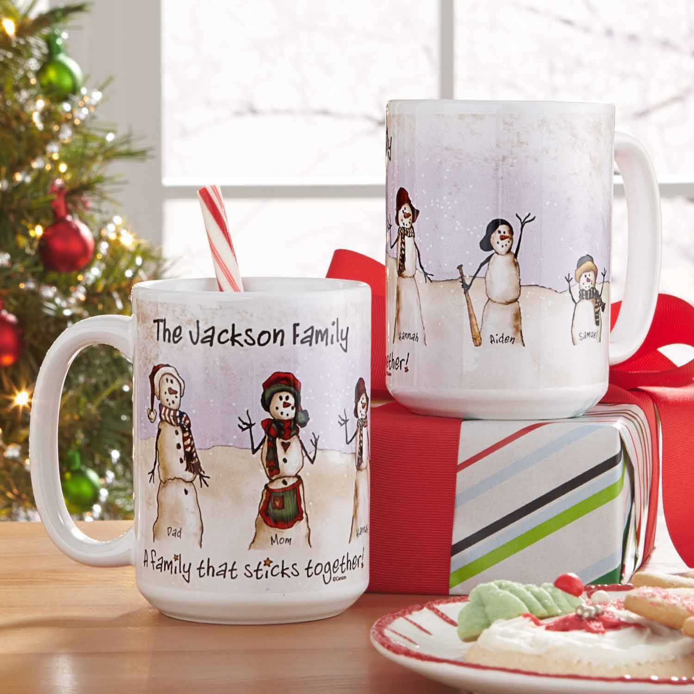 Personalized Snowmen Stick Family 15oz Coffee Mug