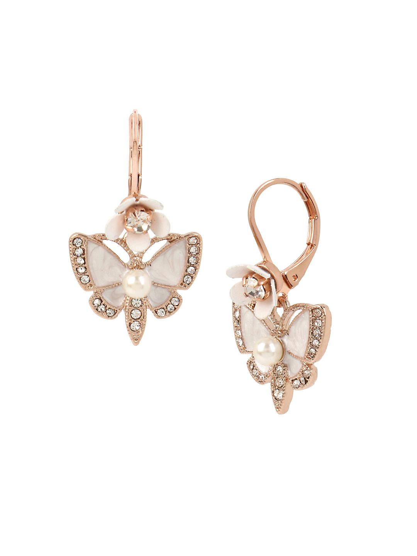 Flower Crystal Butterfly Drop Earrings
