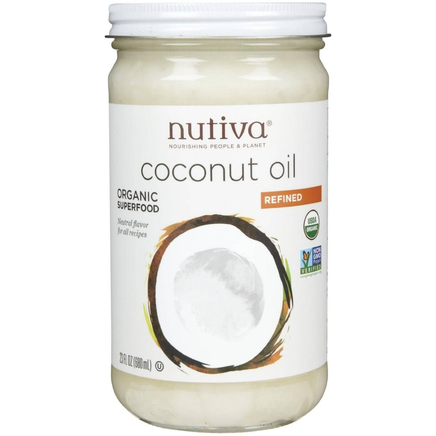 Nutiva Refined Coconut Oil, Organic, 23 Fluid Ounce (Pack of 2)