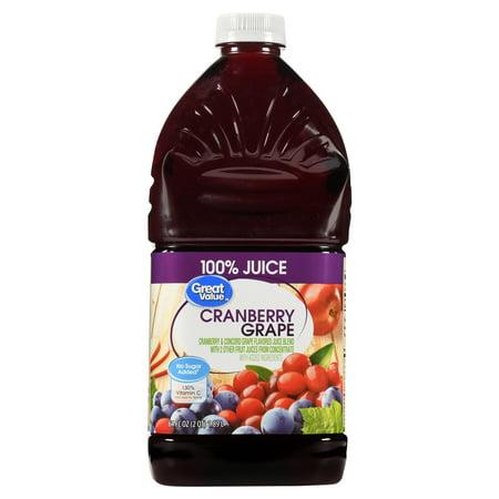 (2 pack) Great Value 100% Juice, Cranberry Grape, 64 Fl Oz, 1 Count