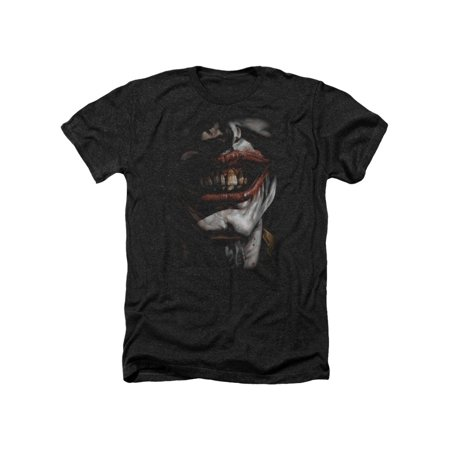 Batman DC Comics Arkham Asylum Joker Smile of Evil Adult Heather T-Shirt Tee - Batman Items For Adults
