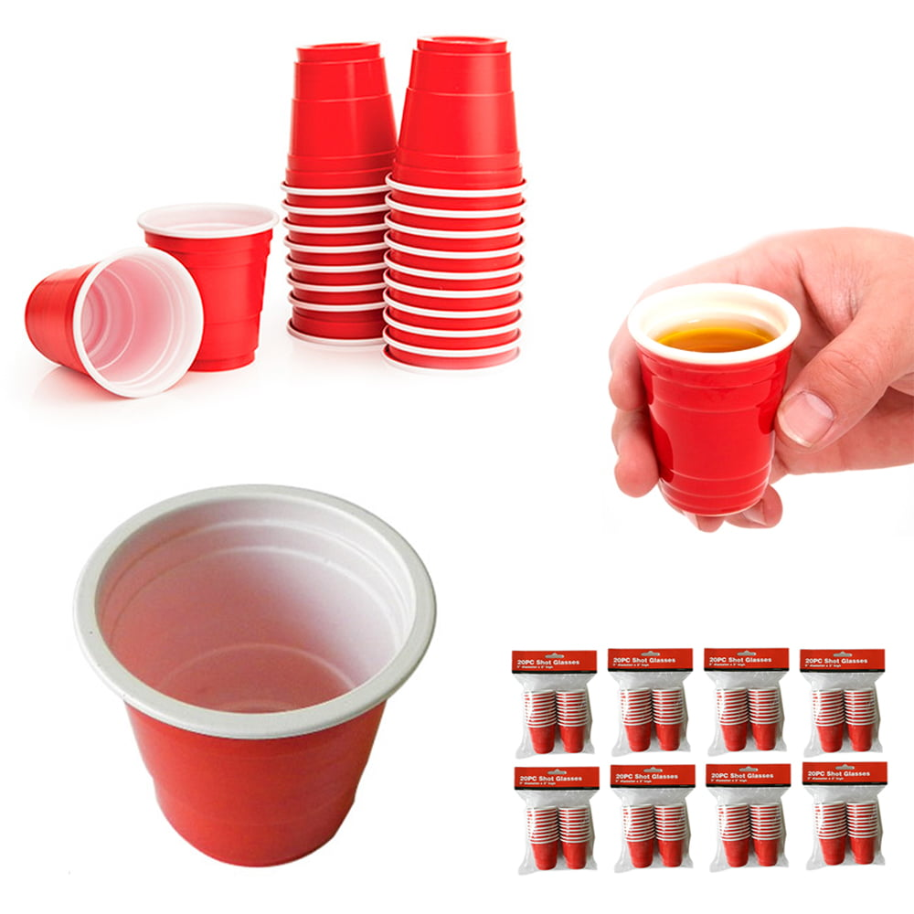 160 Mini Red Cup 2oz Hard Plastic Disposable Jello Jelly Shot Glasses Party by DOLLAR EMPIRE