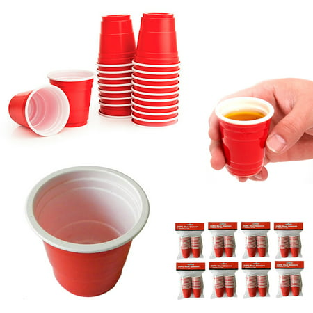 160 Mini Red Cup 2oz Hard Plastic Disposable Jello Jelly Shot Glasses Party (Red Cup Shot Glasses)