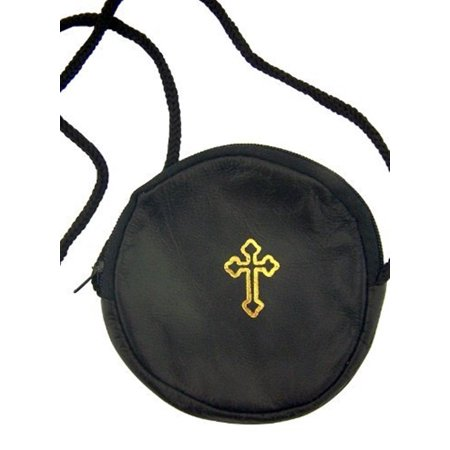 Gold Stamped Cross Black Leather Rosary or Pyx Case with Strap, 3 3/4 Inch ()