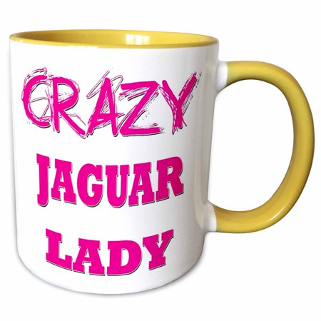 3dRose Crazy Jaguar Lady - Two Tone Yellow Mug, 11-ounce