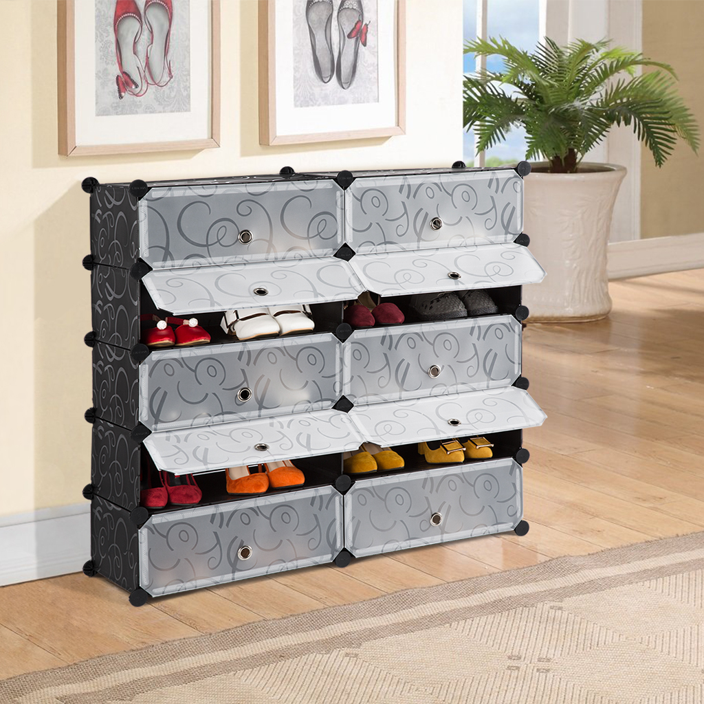 LANGRIA 10-Cube DIY Shoe Rack, Storage Drawer Unit Multi Use Modular Organizer Plastic Cabinet with Doors, Black and White Curly Pattern