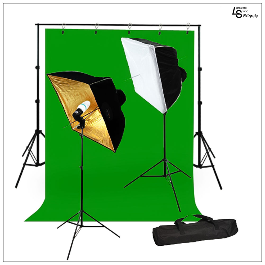 Umbrella Softbox Light Stand Kit with Chromakey Green Screen Muslin and Backdrop Support Stand System by Loadstone Studio WMLS0922