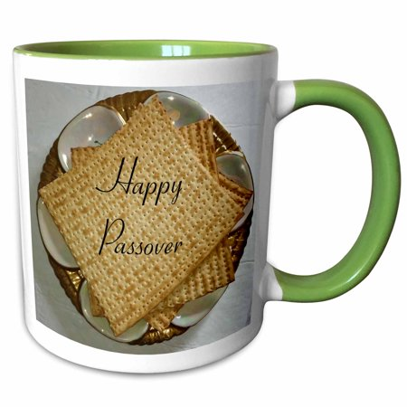 3dRose Image of Happy Passover On Matzoh And Seder Plate - Two Tone Green Mug, 11-ounce